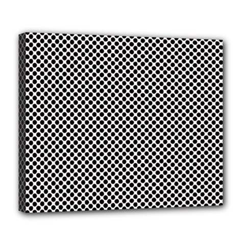 Polka Dot Black  Deluxe Canvas 24  X 20  (stretched) by TimelessDesigns