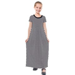 Polka Dot Black  Kids  Short Sleeve Maxi Dress