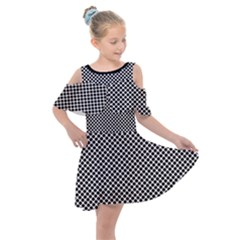 Polka Dot Black  Kids  Shoulder Cutout Chiffon Dress