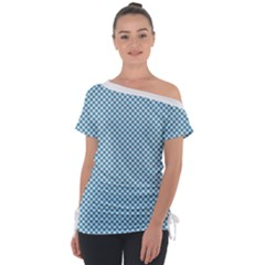 Polka Dot Blue  Tie Up Tee by TimelessFashion