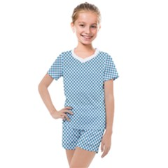 Polka Dot Blue  Kids  Mesh Tee And Shorts Set by TimelessFashion