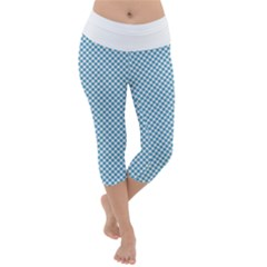 Polka Dot Blue  Lightweight Velour Capri Yoga Leggings