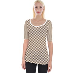 Polka Dot Brown Wide Neckline Tee by TimelessFashion