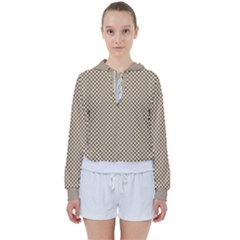 Polka Dot Brown Women s Tie Up Sweat by TimelessFashion
