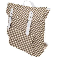 Polka Dot Brown Buckle Up Backpack by TimelessFashion