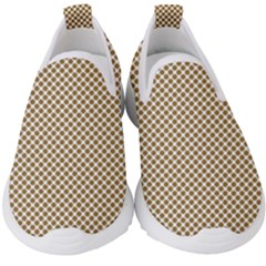Polka Dot Brown Kids  Slip On Sneakers by TimelessFashion