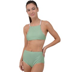 Polka Dot Green High Waist Tankini Set
