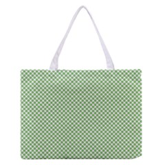 Polka Dot Green Zipper Medium Tote Bag