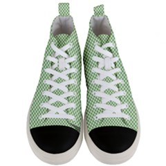 Polka Dot Green Men s Mid Top Canvas Sneakers