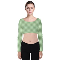 Polka Dot Green Velvet Long Sleeve Crop Top by TimelessFashion