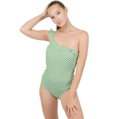 Polka Dot Green Frilly One Shoulder Swimsuit