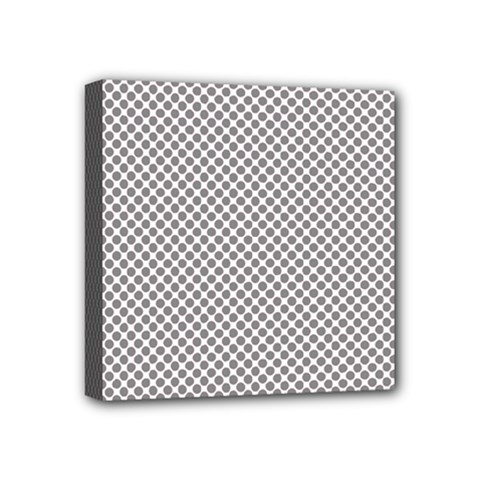 Polka Dot Grey Mini Canvas 4  X 4  (stretched)