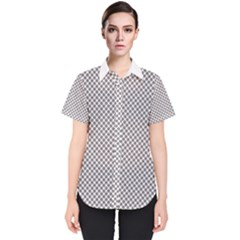 Polka Dot Grey Women s Short Sleeve Shirt