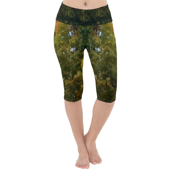 Green Autumn Trees Lightweight Velour Cropped Yoga Leggings
