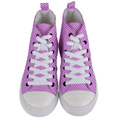Polka Dot Pink  Women s Mid Top Canvas Sneakers