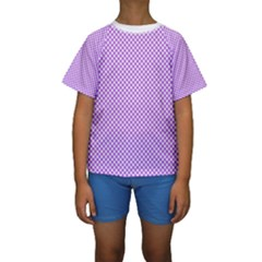 Polka Dot Purple Kids  Short Sleeve Swimwear by TimelessFashion