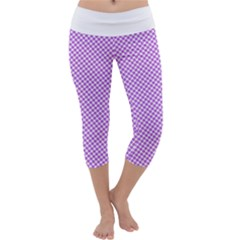 Polka Dot Purple Capri Yoga Leggings