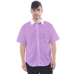 Polka Dot Purple Men s Short Sleeve Shirt