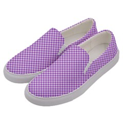 Polka Dot Purple Men s Canvas Slip Ons by TimelessFashion