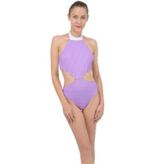 Polka Dot Purple Halter Side Cut Swimsuit by TimelessFashion