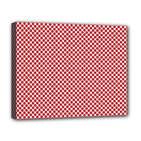 Polka Dot Red  Deluxe Canvas 20  X 16  (stretched) by TimelessDesigns