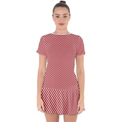 Polka Dot Red  Drop Hem Mini Chiffon Dress