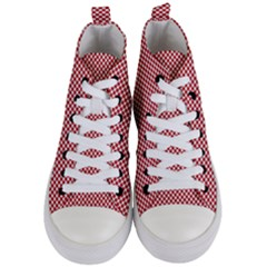 Polka Dot Red  Women s Mid Top Canvas Sneakers