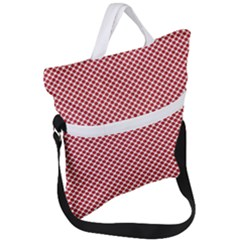 Polka Dot Red  Fold Over Handle Tote Bag by TimelessFashion