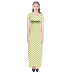 Polka Dot Yellow  Short Sleeve Maxi Dress by TimelessFashion
