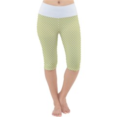 Polka Dot Yellow  Lightweight Velour Cropped Yoga Leggings