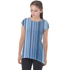 Stripes In Blue Cap Sleeve High Low Top by TimelessFashion
