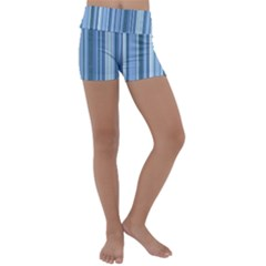 Stripes In Blue Kids  Lightweight Velour Yoga Shorts