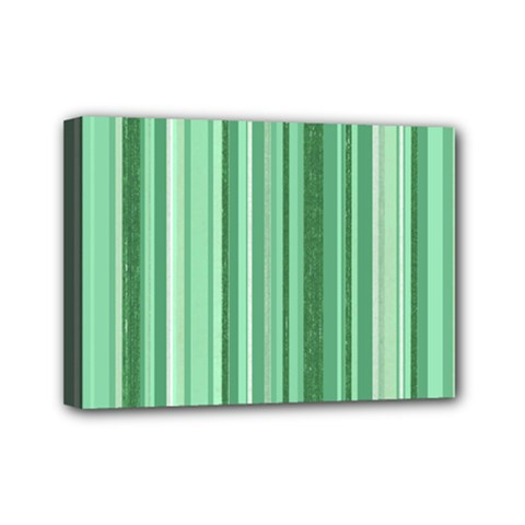 Stripes In Green Mini Canvas 7  X 5  (stretched)