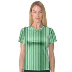 Stripes In Green V Neck Sport Mesh Tee