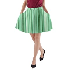Stripes In Green A Line Pocket Skirt