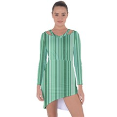 Stripes In Green Asymmetric Cut Out Shift Dress