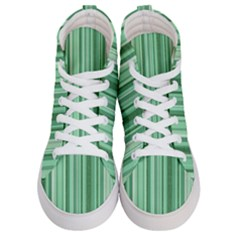 Stripes In Green Men s Hi Top Skate Sneakers