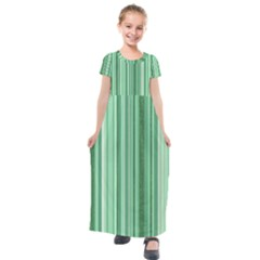 Stripes In Green Kids  Short Sleeve Maxi Dress by TimelessFashion