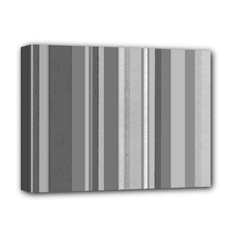 Stripes In Grey Deluxe Canvas 16  X 12  (stretched)