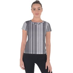 Stripes In Grey Short Sleeve Sports Top