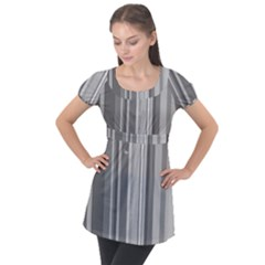 Stripes In Grey Puff Sleeve Tunic Top
