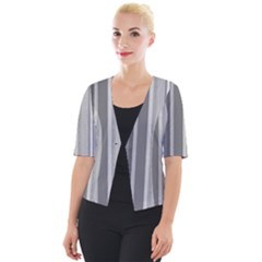 Stripes In Grey Cropped Button Cardigan