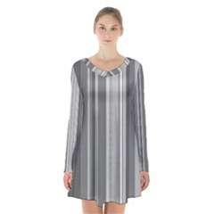 Stripes In Grey Long Sleeve Velvet V Neck Dress