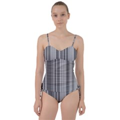 Stripes In Grey Sweetheart Tankini Set