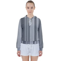 Stripes In Grey Women s Tie Up Sweat by TimelessFashion