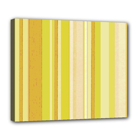Stripes In Yellow Deluxe Canvas 24  X 20  (stretched)