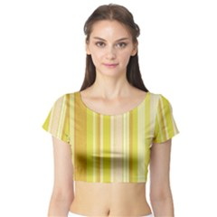 Stripes In Yellow Short Sleeve Crop Top