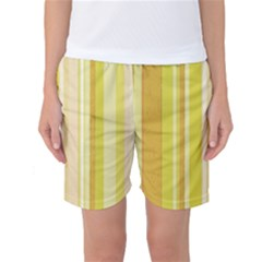 Stripes In Yellow Women s Basketball Shorts