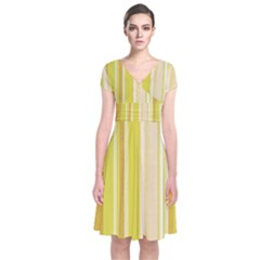 Stripes In Yellow Short Sleeve Front Wrap Dress
