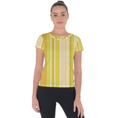 Stripes In Yellow Short Sleeve Sports Top  by TimelessFashion